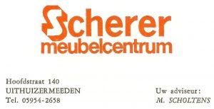 Visitekaartje met nieuw logo Scherer Meubelcentrum